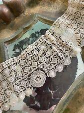 Fine Antique Lace Trim Spiderwork Ecru Delicate Ornate Scallopped Linen 20� X 3