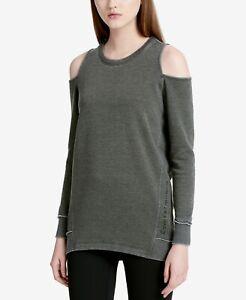 Calvin Klein Performance Solid Cold-Shoulders Sweatshirt Vine Medium Size