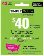 Simple Mobile Refill $40 Direct ReUp service  - 15GB 4GLTE + unlimited talk&txt