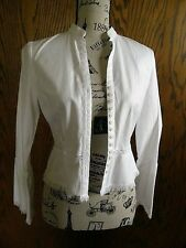 2010) Vintage Inc White Ls Blouse 100% Cotton Ls Lace Insert Fringed P4 W Tags
