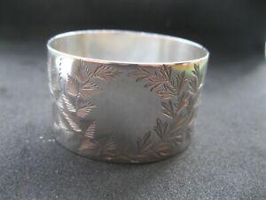 Sterling Silver NAPKIN RING. Hallmarked  London 1893 Victorian Fern Engraved
