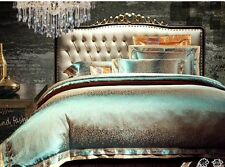Luxury 6pc. Jacquard King Size Silk Duvet Cover Comforter Bedding Set