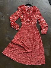 & Other Stories Red Hearts Dress Ruffle Detail Collar Front Tie Dress SZ 6 NEW