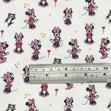 Minnie Mouse fabric UK 100% cotton material Walt Disney characters pinks on whit