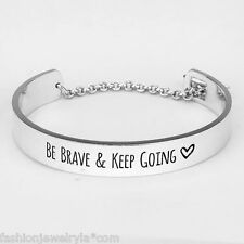Be Brave and Keep Going Cuff Bracelet SILVER Arrow Clasp Inspirational Message