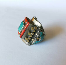 Antique Tibetan Low Grade Silver Turquoise Red Coral Beads Ring Size 10