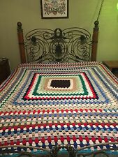 "RETRO VINTAGE Throw Blanket 80""x 82"" Crocheted  Afghan CONTINUOUS GRANNY SQUARE"