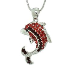 Dolphin Necklace Made With Swarovski Crystal Ocean Sea Red Pendant Jewelry