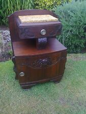 Antique Victorian Oak Marble Topped Cupboard/Stand/Drawer