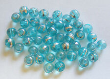 50 Drawbench Glass Beads - Turquoise  - 8mm