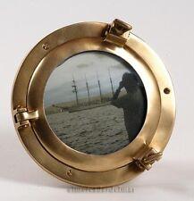 Portafotos ojo de buey náutico pequeño en latón envejecido