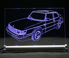 Saab 900 I turbo  als AutoGravur auf LED Leuchtschild