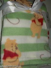 Blanket Winnie The Pooh Green Stripes Disney Bee Honey Pot Baby Fleece White New