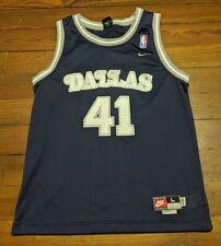 Vintage Nike Dallas Mavericks Dirk Nowitzki Sewn Rewind Jersey Youth Large Blue
