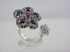 Anillos de joyería con diamantes de oro blanco zafiro flor