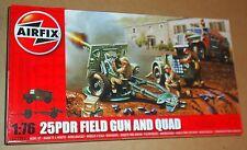AIRFIX 25PDR FIELD GUN AND QUAD 1:76 Scala ARTIGLIERIA modello britannico KIT seconda guerra mondiale