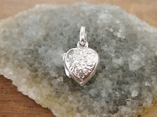 925 Sterling Silver - Small Silver Heart Locket with Flower Engravings - Lovely!