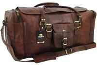 "Yuge Bear 28"" FS3 Vtg Genuine Leather Flap Duffel Weekender XL Large Travel Bag"