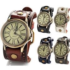 Men Women Unisex Steampunk Watches Big Wide Leather Wristband Strap Bracelet w/