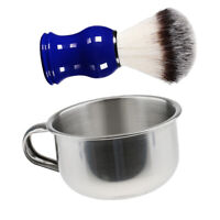 Stainless Steel Men Shaving Bowl Mug Cup + Blue Resin Handle Shave Brush