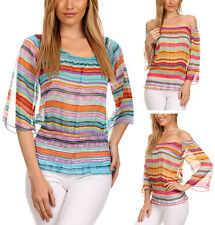 Striped Multi-Color Chiffon Top Sheer Trendy Blouse