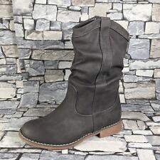 Damen Schlupfstiefel Stiefeletten Stiefel Boots warm gefüttert NEU ST80