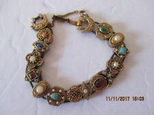 Vintage Victorian Romantic Gold Tone  Slide Bracelet