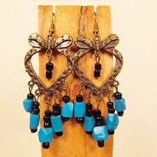 "2 1/2"" Blue Wood Bead Metal Heart Shaped Handmade Chandelier Seed Bead Earring"