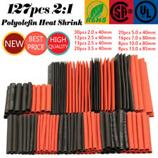 127Pcs Red&Black Sleeving Wire Wrap Kit Heat Shrink Tubing Tube Cable Ratio 2:1