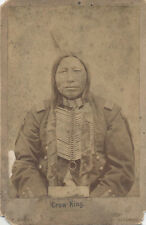 VERY RARE CABINET CARD OF NATIVE AMERICAN MAN CROW KING BY BARRY  - BISMARCK, DT