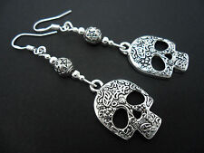 A PAIR OF TIBETAN SILVER SKULL EARRINGS WITH 925 SOLID SILVER HOOKS. NEW..