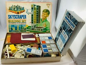 1968 Ideal Super City Skyscraper Helicopter Building Set, Some Parts Sealed