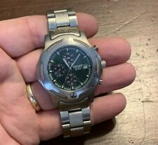 Men's Silver-Tone Timberland Chronograph S.S. Green Face Wristwatch Watch