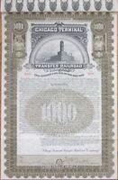 'Chicago Terminal Transfer Railroad Company' 1897 Gold Bond Certificate - IL RR