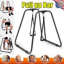 Parallel Dip Station Bar Home Gym Parallette Workout Calisthenics Training Black