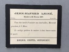Genealogy: Memorial Death Funeral Card #A64 LAINE Jean-Alfred 1897: Guernsey