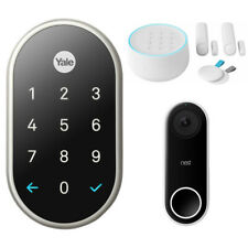 Nest x Yale Lock with Nest Connect (Satin Nickel) w/ Secure Alarm System Bundle