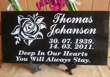 Memorial Grave Plaque Stone Engraved Headstone Black Granite 15 x 30 cm + stand
