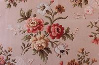 "Beautiful Roses&Printed Lace French Antique c1890 Fabric~26""LX27""W~HomeDec"
