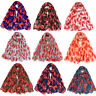 Poppy Floral Print Autumn Colour Lady Women Shawl Wrap Silk Chiffon Scarf EJF