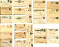 25 Early USA Cover Postal Cards Collection Stamps Postcards Postage Used