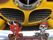 license plate toppers RED DEVIL & SKULL toppers mechanical  eyes and cigars move