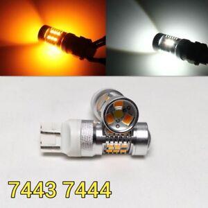 Brake Light T20 7443 7444 Amber + White Switchback SMD LED M1 For Hon MAR
