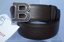 New Bally Men's Belt Signature Logo Size 40 Buckle Brown Leather