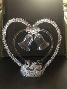 "25th Twenty-Fifth Anniversary Blown Glass Wedding Cake Topper 7"" Tall"