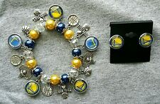 Golden state warriors bracelet and stud earring set (free button)
