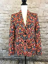 Zara Woman Size M Orange Multicolored Floral Lined Blazer Jacket