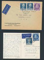 BERLIN 1953, Mi. 104-105 Brief, zwei portorichtige Flugbelege!! Mi. 100,--+!!