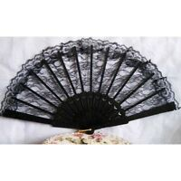 Spanish Lace Fabric Silk Folding Hand Held Dances Fan/Flower Party/Wedding Prom