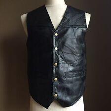 Vintage Rebel Ryder Blk Leather Patchwork Biker Motorcycle Vest Sz M